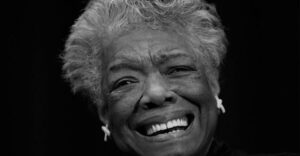 Black and white portrait of Maya Angelou